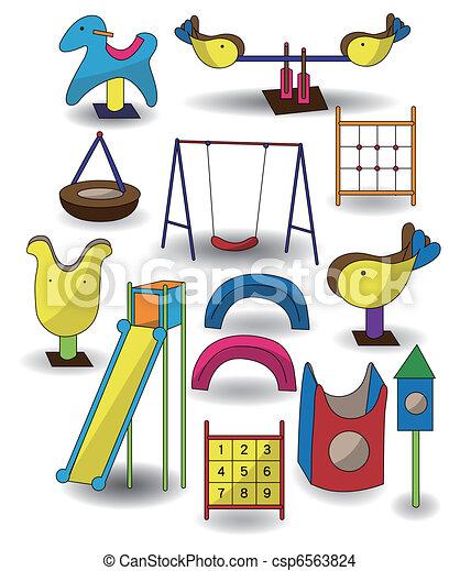 rysunek, ikona, park, plac gier i zabaw - csp6563824