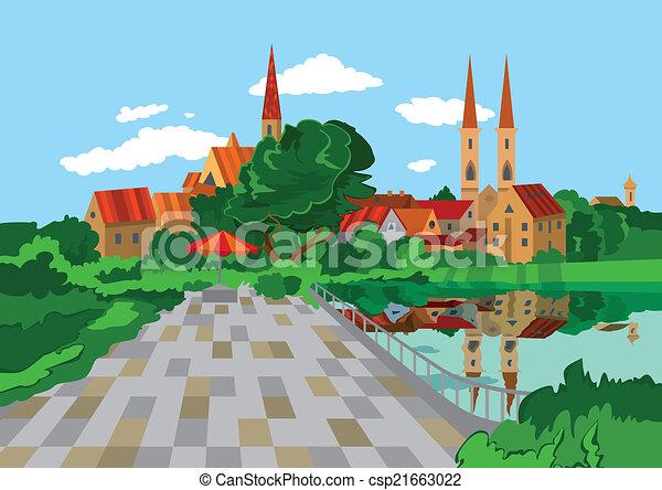 rysunek, jezioro, park - csp21663022