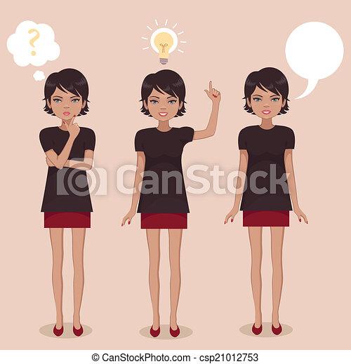 rysunek, kobieta stanie - csp21012753