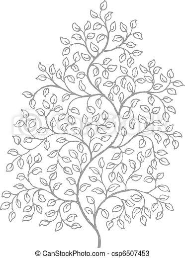 rysunek, winorośle, kędzierzawy, ozdobny, elegancki - csp6507453