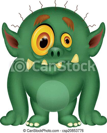 rysunek, zielony potwór - csp20853776