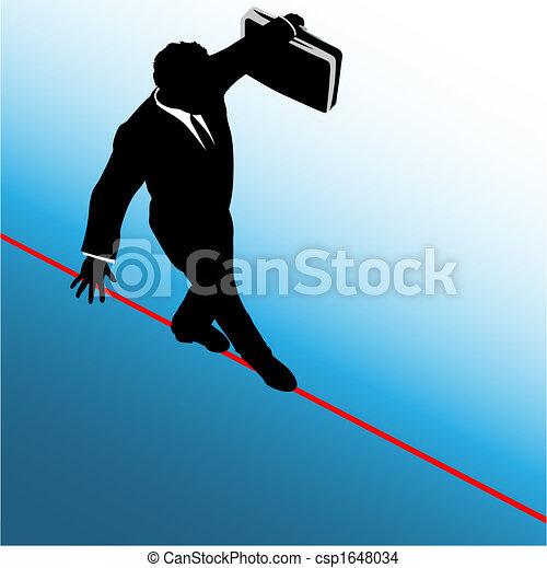 ryzyko, handlowy, niebezpieczeństwo, symbol, linoskoczek, przechadzki, człowiek - csp1648034