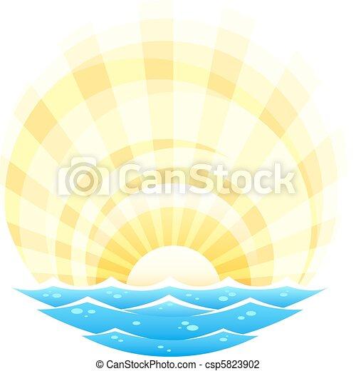 słońce, abstrakcyjny, powstanie, morze, fale, krajobraz - csp5823902