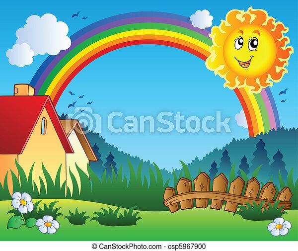 słońce, krajobraz, tęcza - csp5967900
