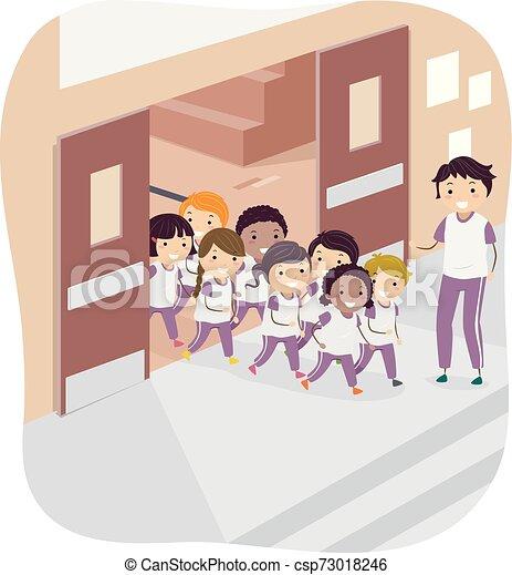 sala gimnastyczna, dzieciaki, stickman, nauczyciel, ilustracja - csp73018246