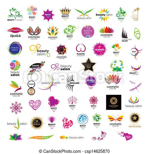 salony, logos, piękno, zbiór, wektor, kosmetyki - csp14625870