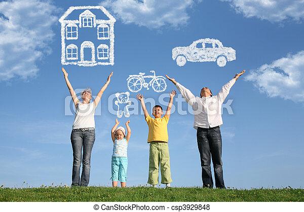 sen, rodzina, collage, do góry, cztery ręki, trawa - csp3929848