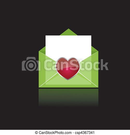 serce, barwny, zielony, poczta - csp4367341