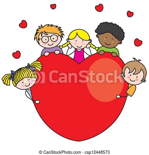 serce, grupa, dzieci - csp12448573