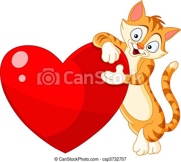 serce, kot, dzierżawa, valentine - csp3732707