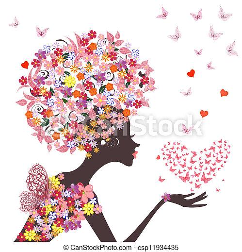 serce, motyle, fason, kwiaty, dziewczyna - csp11934435