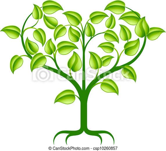 serce, zielone drzewo, ilustracja - csp10260857