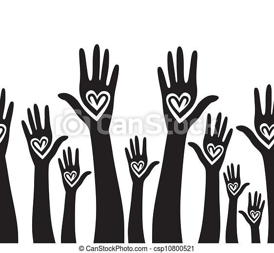 serce, zjednoczony, podobny, ludzie, seamless, ręka, tło. - csp10800521