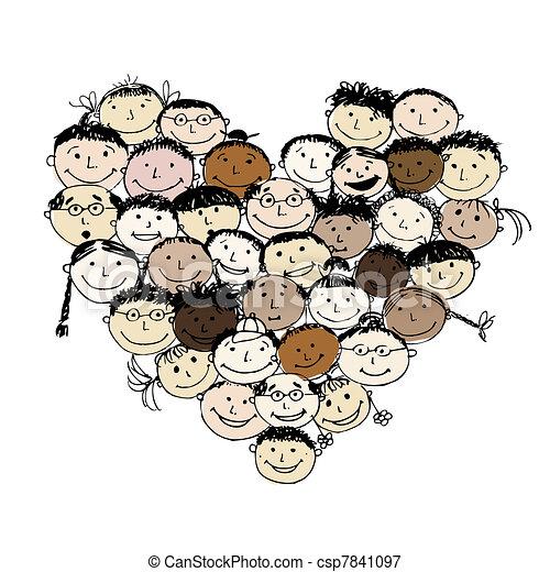 sercowa forma, narody, projektować, twój, szczęśliwy - csp7841097
