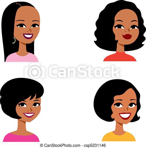 seria, avatar, rysunek, kobieta, afrykanin - csp5231146