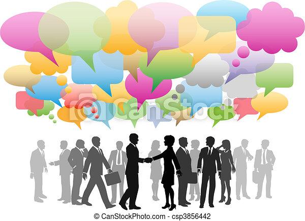 sieć, handlowy, media, towarzystwo, mowa, towarzyski, bańki - csp3856442