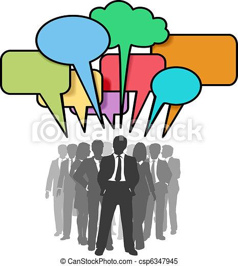 sieć, handlowy zaludniają, bańki, barwny, rozmowa - csp6347945