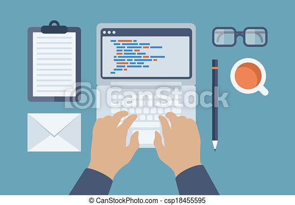 sieć, html, programowanie, ilustracja, płaski - csp18455595