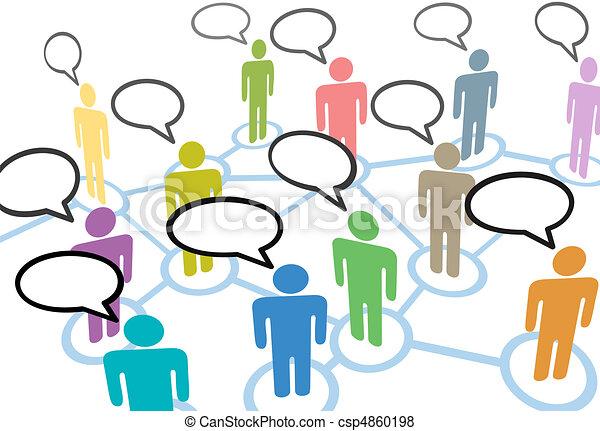 sieć, ludzie, komunikacja, stosunek, mowa, towarzyski, rozmowa - csp4860198