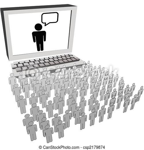 sieć, ludzie, pilnowanie, audiencja, komputer, towarzyski, hydromonitor - csp2179874