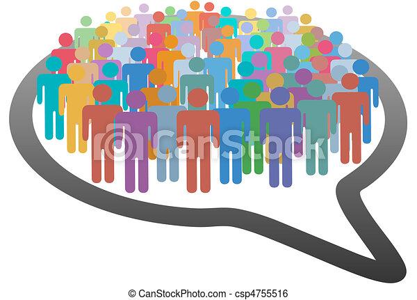 sieć, tłum, ludzie, media, mowa, towarzyski, bańka - csp4755516