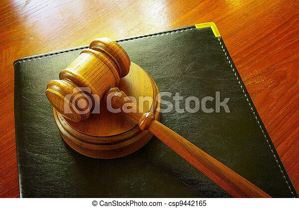 skóra, gavel, wiązanie, prawny, biurko - csp9442165
