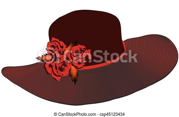 skrzydło, róże, elegancki, kapelusz, czarnoskóry, kolor, kobiety, czerwony, pasiasty - csp45123434