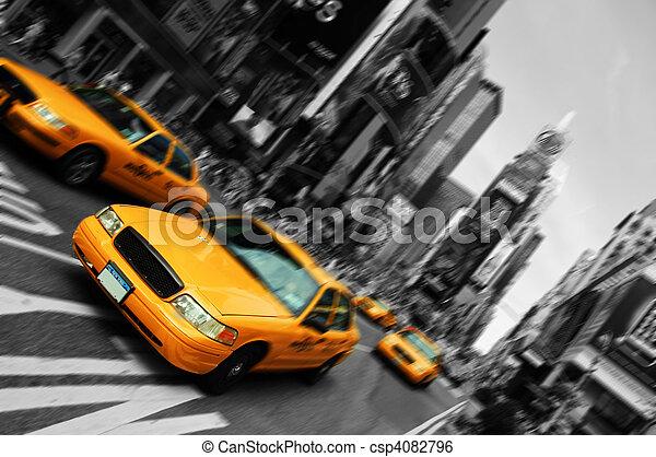 skwer, ruch, taksówka, plama, miasto, czasy, york, ognisko, nowy - csp4082796
