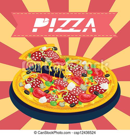 smakowity, retro, pizza - csp12436524