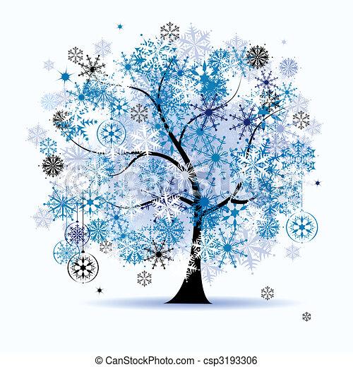 snowflakes., drzewo, holiday., zima, boże narodzenie - csp3193306