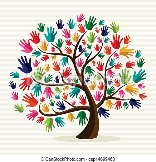 solidarność, ręka, barwny, drzewo - csp14699483