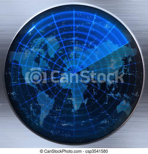 sonar, światowa mapa, albo, radar - csp3541580