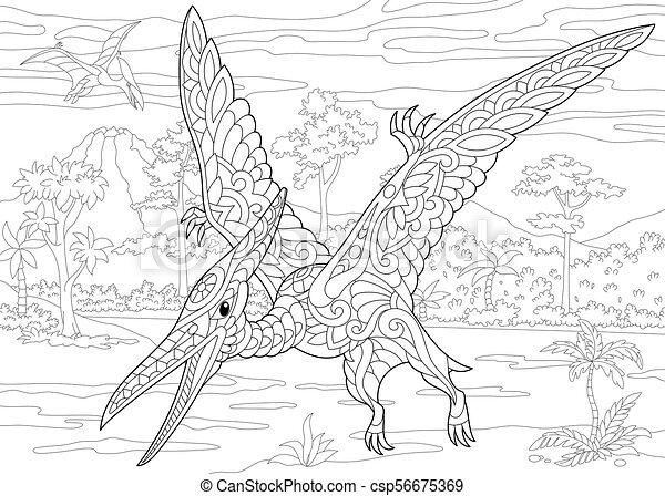 species., pterodaktyl, dinosaur., wygasły - csp56675369
