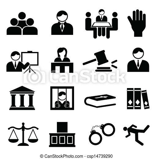 sprawiedliwość, prawny, ikony - csp14739290