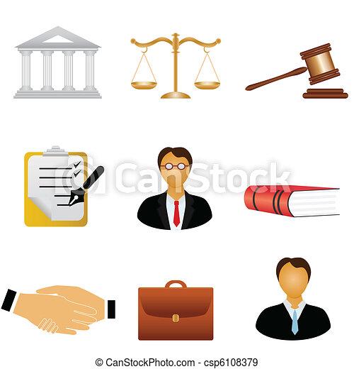 sprawiedliwość, prawo, ikony - csp6108379