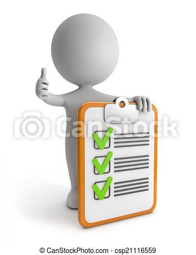 sprytny, 3d, -, checklist, ludzie - csp21116559