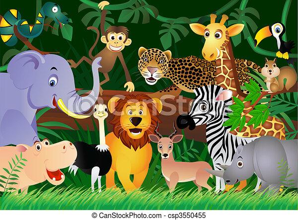 sprytny, dżungla, zwierzę, rysunek - csp3550455