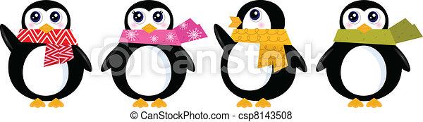sprytny, komplet, zima, ), (, odizolowany, wektor, retro, biały, pingwin - csp8143508