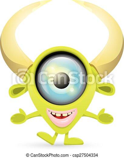 sprytny, zielony, rysunek, potwór - csp27504334