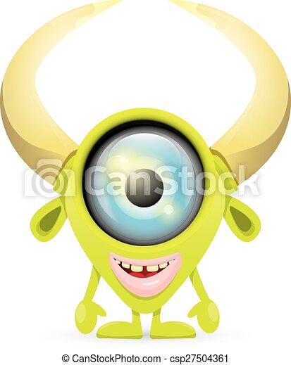 sprytny, zielony, rysunek, potwór - csp27504361
