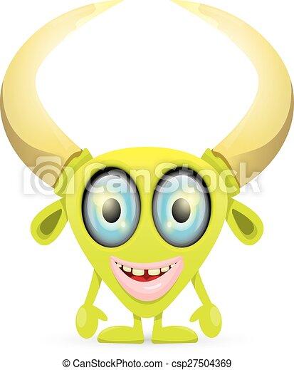 sprytny, zielony, rysunek, potwór - csp27504369