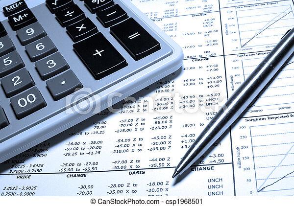stal, finansowy, kalkulator, graphs., pióro, dane - csp1968501
