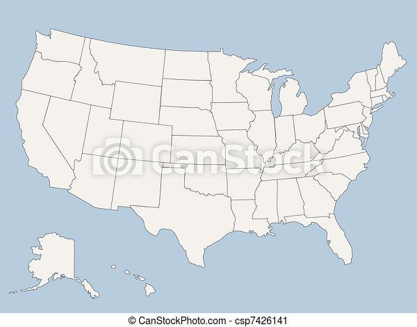 stany, mapa, ameryka, zjednoczony, wektor - csp7426141