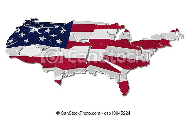 stany, mapa, pęknięty, zjednoczony - csp13045224