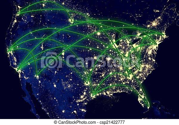 stany, mapa, zjednoczony, sieć - csp21422777