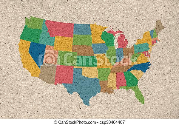 stany, mapa, zjednoczony, stary, papier - csp30464407