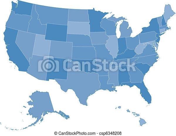 stany, mapa, zjednoczony - csp6348208
