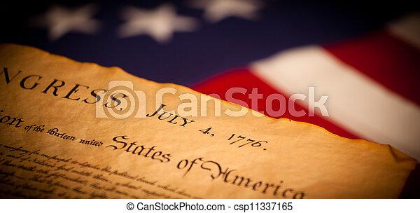 stany zjednoczona bandera, tło, deklaracja, niezależność - csp11337165