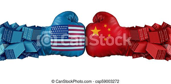 stany zjednoczony, handel, wyzwanie, porcelana - csp59003272