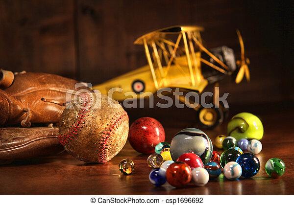 starożytny, baseball, stary, rękawiczka, zabawki - csp1696692